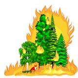 Forest Fire, brand in boslandschapsschade, de ramp van de aardecologie, hete brandende bomen, de vlam van de gevaars bosbrand met vector illustratie