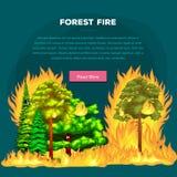 Forest Fire brand i skoglandskapskada, naturekologikatastrof, varma brinnande träd, faraskogsbrandflamma med royaltyfri illustrationer