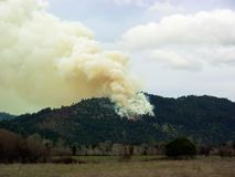 Forest Fire Burns Out Of Control stock images