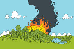 Forest Fire. A cartoon fire rages in a green forest Royalty Free Stock Images