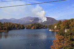 Forest Fire at Chimney Rock Lake Lure Area. Beginning of the Lake Lure forest fire in the fall of 2016 in North Carolina at Chimney Rock stock images