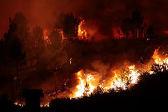 Forest Fire close to a house stock images