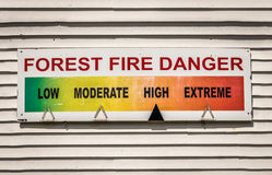 Forest Fire Danger Sign Stockfotografie