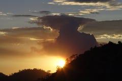 Forest Fire en la puesta del sol Imagen de archivo
