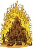 Forest Fire Evacuation. A cartoon of a raging forest fire consuming a mountain hill with a road full of evacuating cars in the foreground Stock Image