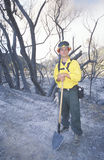 Forest fire fighter holding shovel, Los Angeles Padres National Forest, California Stock Photo