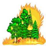 Forest Fire, fire in forest landscape damage, nature ecology disaster, hot burning trees, danger forest fire flame with. Smoke, blaze wood background vector Royalty Free Stock Photo