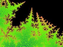 Forest Fire Fractal. A fractal of green and orange spikes that are like a forest of trees on fire Royalty Free Stock Images