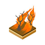 Forest fire icon, cartoon style Stock Photography