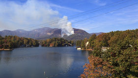 Forest Fire at Lake Lure in North Carolina. Beginning of the Lake Lure forest fire in the fall of 2016 in North Carolina at Chimney Rock royalty free stock photo