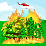 Forest Fire. Forest Fire, fire in forest landscape damage, nature ecology disaster, hot burning trees, danger forest fire flame with smoke, blaze wood Royalty Free Stock Photo