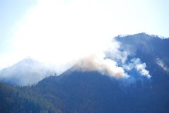 Forest fire in the mountains Royalty Free Stock Photo