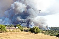 Forest fire in Portugal Stock Photos