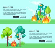 Forest Fire Set of Cartoon Posters with Text. Forest fire set of cartoon posters with inscriptions. Vector illustration of raging wildfire that has engulfed lush Stock Images