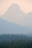 Forest Fire smoke. In the Rocky Mountains of Alberta Stock Photo