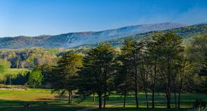 Forest Fire sur la montagne de Catawba image libre de droits