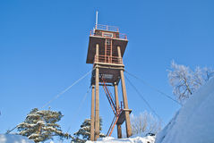 Forest fire tower. (3). Linnekleppen is the highest point in Rakkestad municipality and Mark municipality in Østfold, it lies just on the border between the Royalty Free Stock Images