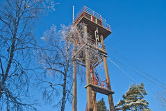 Forest fire tower. (5). Linnekleppen is the highest point in Rakkestad municipality and Mark municipality in Østfold, it lies just on the border between the Royalty Free Stock Images