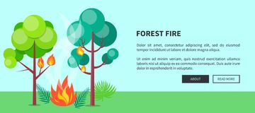 Forest Fire Web Poster with Inscription. Vector. Illustration of raging wildfire that has engulfed lush trees, bushes and grass with place for text Royalty Free Stock Images