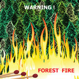 Forest fire, wildfire burning tree in red and orange color vector.  Royalty Free Stock Image