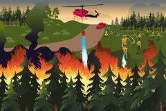 Forest Firefighters. A vector illustration of firefighters trying to put out fires in the forest Royalty Free Stock Photography