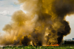 Forest fires in the city on a hot oversupply. Firefighter helped hasten to prevent fire spread to the village. Royalty Free Stock Photography