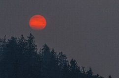 Forest Fires. Northwest forest fires and sun going down in smoke filled air royalty free stock photos