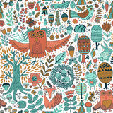 Forest and floral seamless pattern with animals Stock Photos