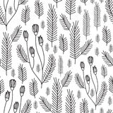 Forest florals pattern background. Seamless floral pattern background. Summer flower texture Stock Photography