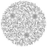 Forest flowers. Vector coloring book pages. Floral ornament. Art mandala style. Black and white background. Could be use for coloring book in zentangle style Royalty Free Stock Photography
