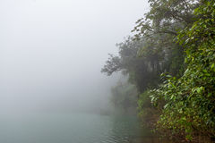 Forest at foggy volcano crater lake. La Fortuna Costa Rica royalty free stock photo