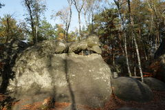 Forest of Fontainebleau, France. Forest of Fontainebleau in France. Erosion has formed sandstone chaos Stock Image