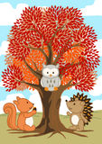 Forest friends under a tree in fall Stock Photo