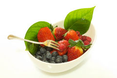 Forest fruit. Blueberries composition food forest fruit kitchen raspberries salad strawberries tray Royalty Free Stock Photography