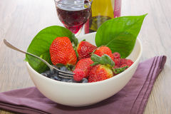 Forest fruit. Blueberries composition food forest fruit kitchen raspberries salad strawberries tray Royalty Free Stock Photos