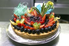 Forest fruit cake, strawberries and mascarpone cream. Delicious cake of forest berries. Food, dessert, Cake. Berries. Forest fruit cake, strawberries and stock photo