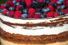 Forest fruit moos cake with blackberry , blueberry and raspberry. Forest fruit moos cake with fresh blackberry , blueberry and raspberry stock photos