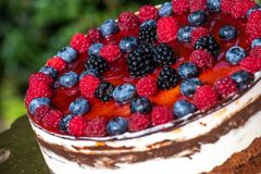 Forest fruit moos cake with blackberry , blueberry and raspberry. Forest fruit moos cake with fresh blackberry , blueberry and raspberry stock image