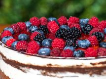 Forest fruit moos cake with blackberry , blueberry and raspberry. Forest fruit moos cake with fresh blackberry , blueberry and raspberry royalty free stock image