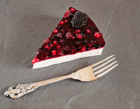 Forest Fruit Panna Cotta Cake Slice Stock Images