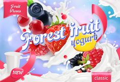 Forest fruit yogurt. Mixed berry and milk splashes. 3d vector Stock Photos
