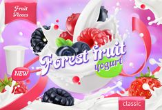 Forest fruit yogurt. Mixed berry and milk splashes. 3d vector royalty free illustration