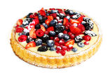 Forest fruits cake. On a white background Stock Photo
