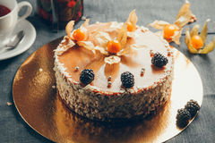 Forest fruits cake. Cake with forest fruits and cream stock photography