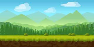 Forest game background 2d  application.. Forest game background 2d game application. Vector design. Tileable horizontally. Size 1024x512. Ready for parallax Stock Photography