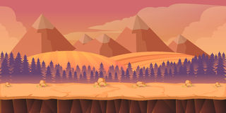 Forest game background 2d  application. Forest game background 2d game application. Vector design. Tileable horizontally. Size 1024x512. Ready for parallax Stock Photo