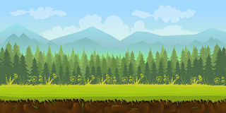 Forest game background 2d application. Forest game background 2d game application. Vector design. Tileable horizontally. Size 1024x512. Ready for parallax effect Royalty Free Stock Photos