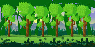 Forest game background 2d  application. Vector design.. Forest game background 2d game application. Vector design. Tileable horizontally. Size 1024x512. Ready Stock Photos