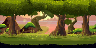 Forest game background 2d  application. Vector design. Forest game background 2d game application. Vector design. Tileable horizontally. Size 1024x512. Ready Stock Photography