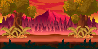 Forest game background 2d  application. Vector design. Tileable horizontally. Size 1024x512. Ready for parallax effect Royalty Free Stock Images